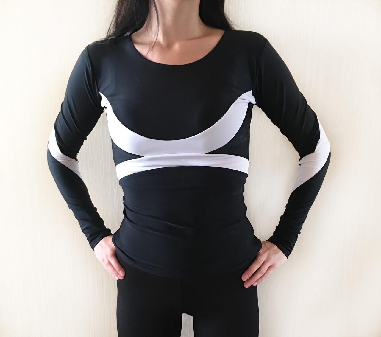 Спортивный женский рашгард черного с цвета с белыми вставками