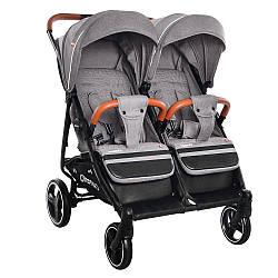 Детская прогулочная коляска для двойни Carrello Connect CRL-5502 Rock Grey в льне