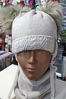 Шапка+шарф для девочек, 44-46 рр.,  № 2219