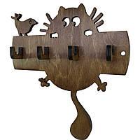 Ключница настенная деревянная Кот и птичка