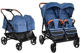 Детская прогулочная коляска для двойни Сarrello Connect CRL-5502/1 с переноскойEvening Blue в льне