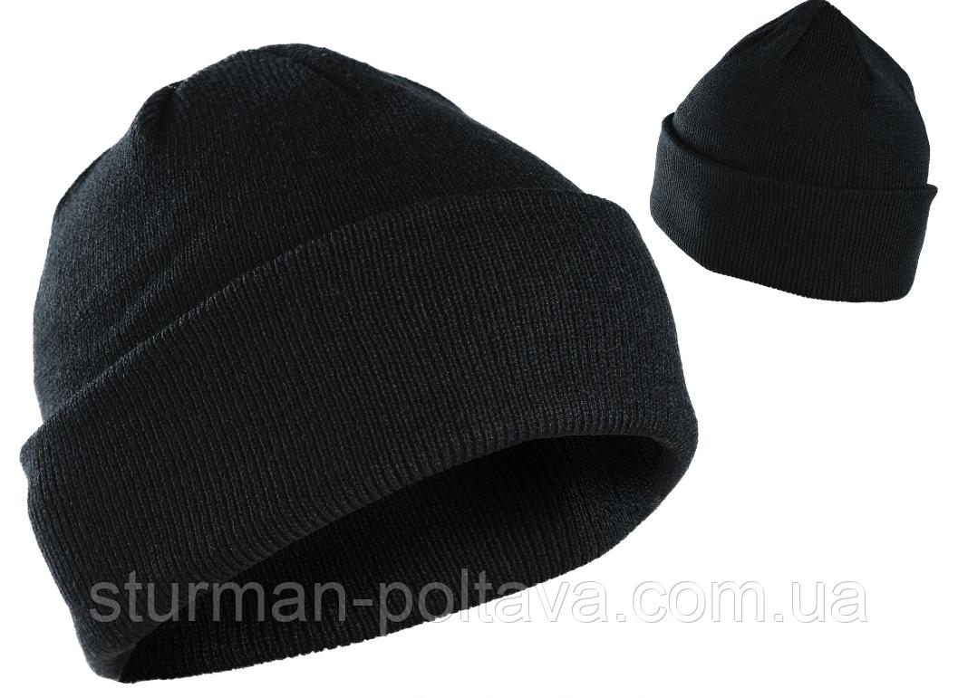 Шапка зимняя акриловая цвет черный с заваротом Mil-Tec  Германия