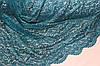 Гипюр стрейч, фістони з двух боків . зелена бирюза  №703