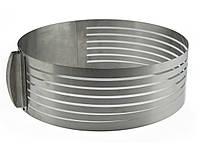 Кольцо раздвижное для нарезки бисквита от 15 см до 20 см, высота 13 см, фото 1