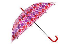 Зонт-трость прозрачный, полуавтомат, 8 спиц, красный/фиолетовый