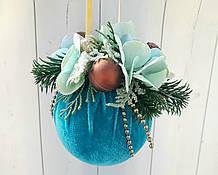 Елочное украшение Шар бархатный Color Christmas Collection 10 см  бирюзово-коричневый с декором