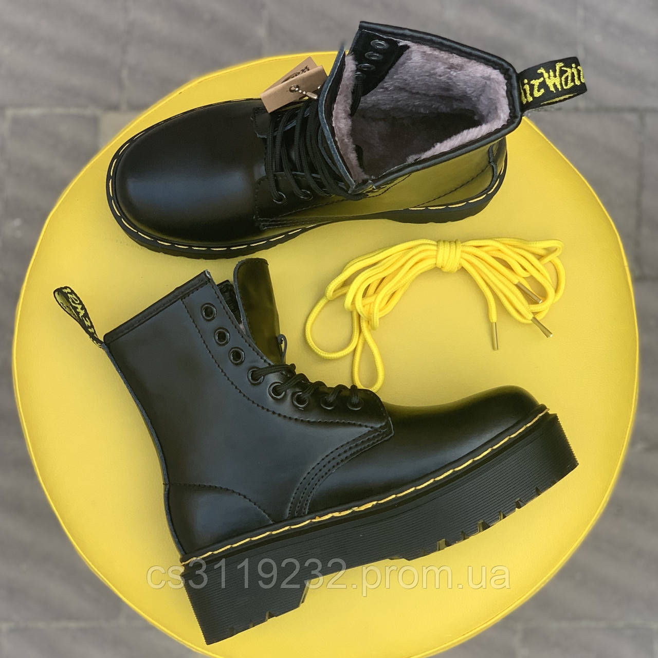 Женские ботинки зимние Dr.Martens Bex (мех) (черный)