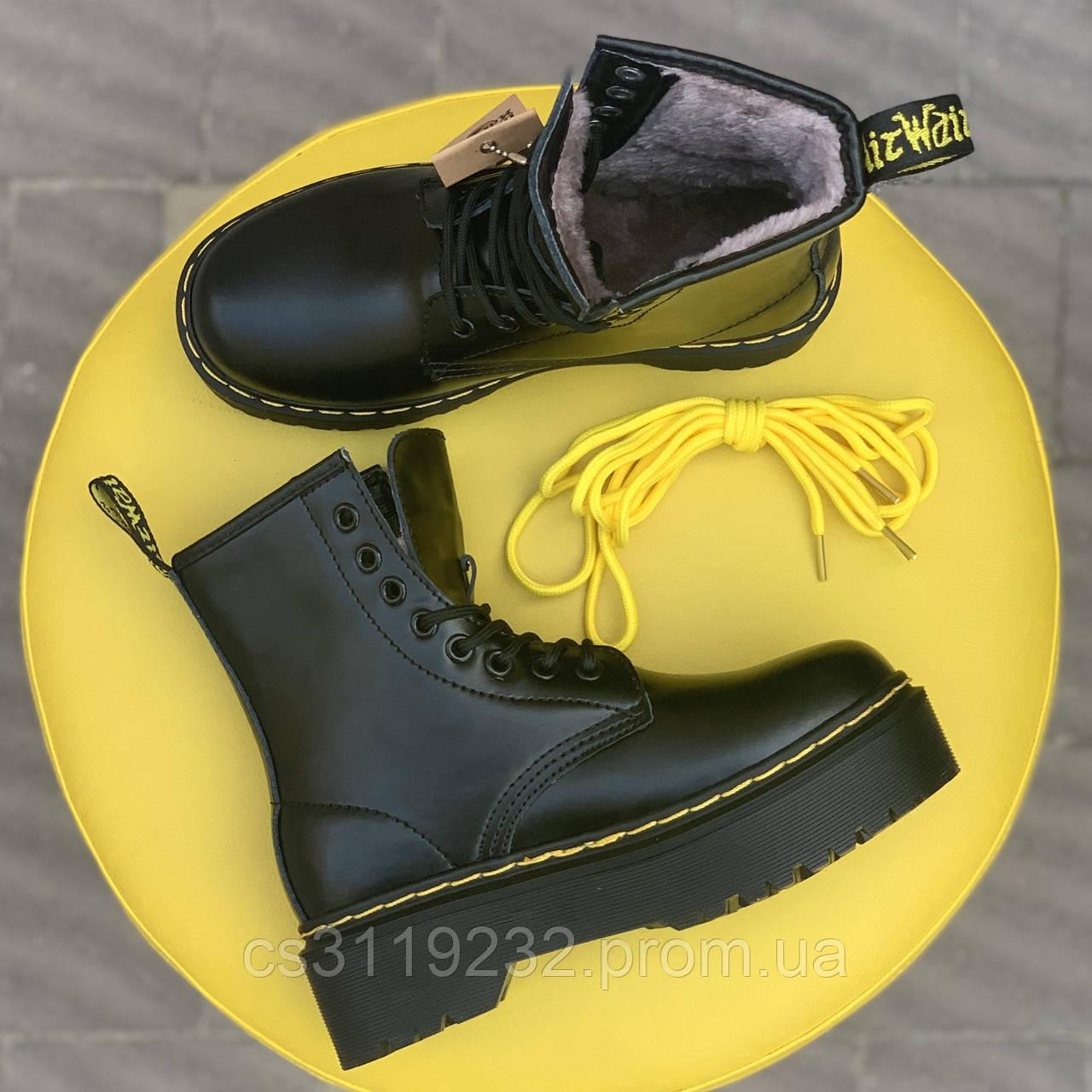 Жіночі черевики зимові Dr.Martens Bex (хутро) (чорний)
