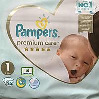 Pampers Premium care р.1 (2-5кг) 26шт. Памперсы для детей, подгузники для новорожденных