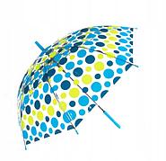 Зонт-трость прозрачный, полуавтомат, 8 спиц, синий/желтый