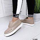 Женские зимние ботинки хайтопы цвета латте из натуральной кожи (в наличии и под заказ 7-16 дней), фото 3