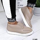 Женские зимние ботинки хайтопы цвета латте из натуральной кожи (в наличии и под заказ 7-16 дней), фото 4