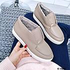 Женские зимние ботинки хайтопы цвета латте из натуральной кожи (в наличии и под заказ 7-16 дней), фото 5