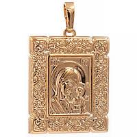 Ладанка лимонная позолота Образ Богородицы 2,6 см (Медицинское золото)