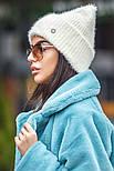 Женская вязаная шапка травка с подворотом (в расцветках), фото 2