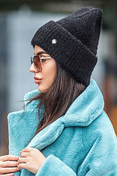 Женская вязаная шапка травка с подворотом (в расцветках)