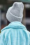 Женская вязаная шапка травка с подворотом (в расцветках), фото 10