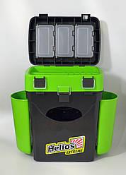 Ящик для рыбалки FISHBOX Helios двухсекционный 10л ХА-1034, зеленый