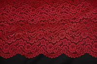 Гипюр стрейч, фістони з двух боків . червоний №706