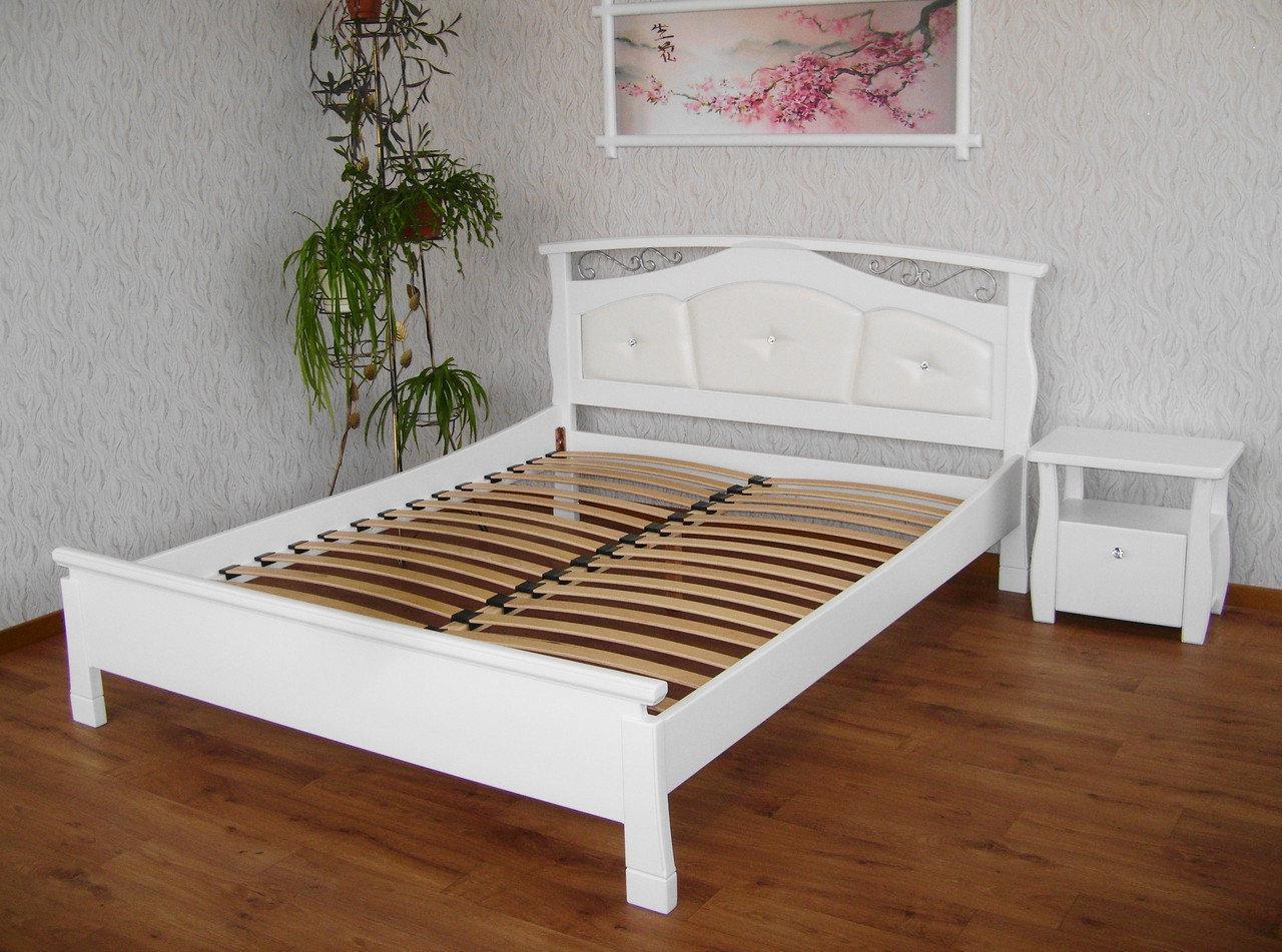 Кровать деревянная КРОВАТЬ Центр Миледи с мягким изголовьем сосна, ольха