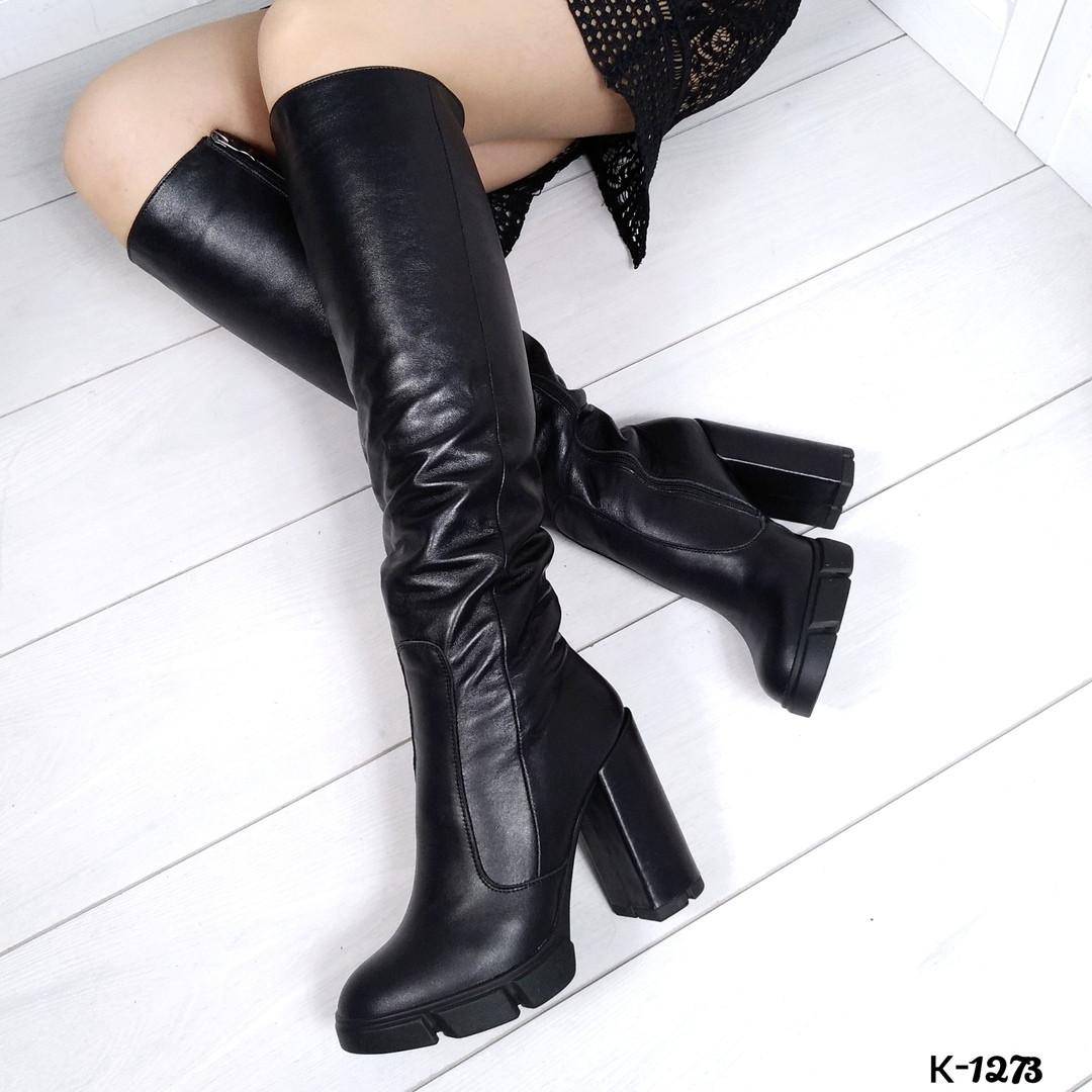 Зимние женские сапоги черного цвета, натуральная кожа ( под заказ 7-16 дней)