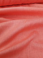 Льняная костюмная ткань персиково - розового цвета, фото 1