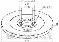 4164210412 / Тормозной диск Ø374x22x22 MERCEDES-BENZ