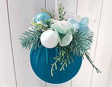 Елочное украшение Шар бархатный бирюзовый Color Christmas Collection 10 см с декором