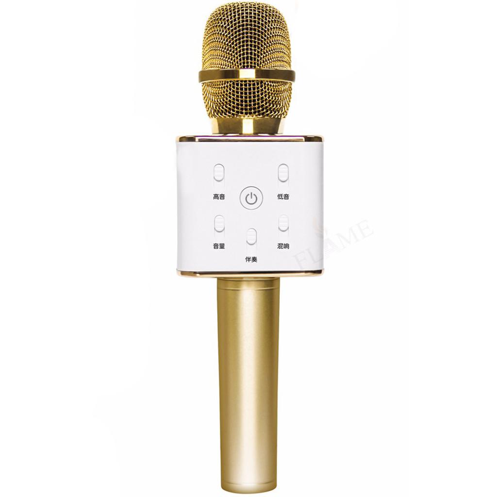 Беспроводной Блютуз Караоке Микрофон и динамик Bluetooth Q7 GOLD в коробке