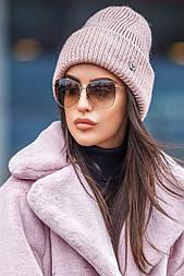 Женская вязаная шапка с люрексом с подворотом (в расцветках)