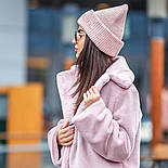 Женская вязаная шапка с люрексом с подворотом (в расцветках), фото 3