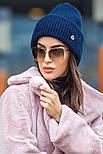 Женская вязаная шапка с люрексом с подворотом (в расцветках), фото 5