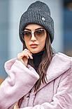 Женская вязаная шапка с люрексом с подворотом (в расцветках), фото 10