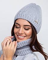 Зимний женский комплект (шапка + хомут) на флисе  - Арт 2507, фото 1