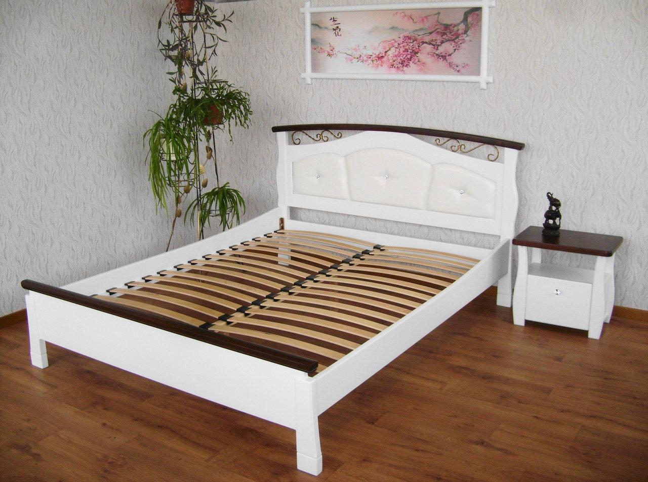 Кровать деревянная КРОВАТЬ Центр Констанция с мягким изголовьем сосна, ольха
