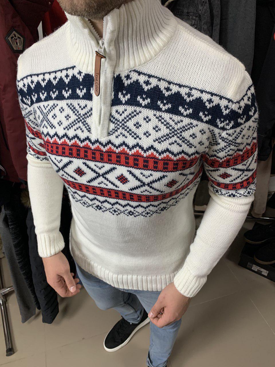 Мужской свитер новогодний белый S03