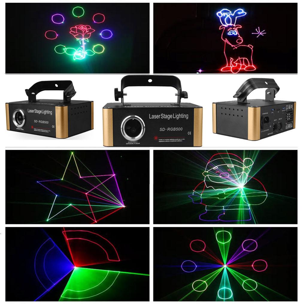 Диско лазер 500 mW RGB с эффектом 3D с SD card
