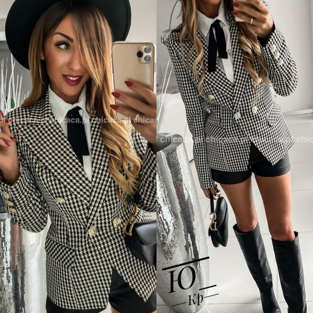 Пиджак женский, повседневный, офисный, в клетку, на пуговицах, стильный, отложной воротник, модный, до 48 р, фото 1