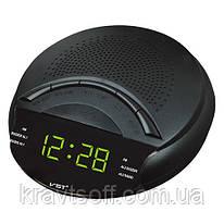 Часы сетевые 903-2 зеленые, радио FM, 220V