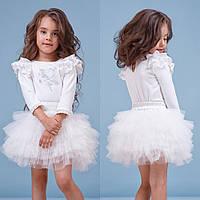 Белый комплект блуза+юбка для девочки zironka
