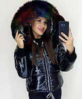 Женская зимняя теплая куртка плащевка на синтепоне с мехом черная S M L, фото 1