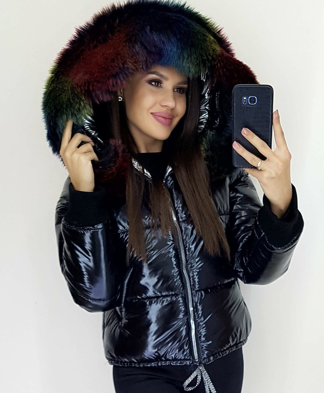 Женская зимняя теплая куртка плащевка на синтепоне с мехом черная S M L
