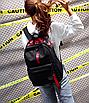 Рюкзак городской молодежный Be Your Черный с красными лентами, фото 3