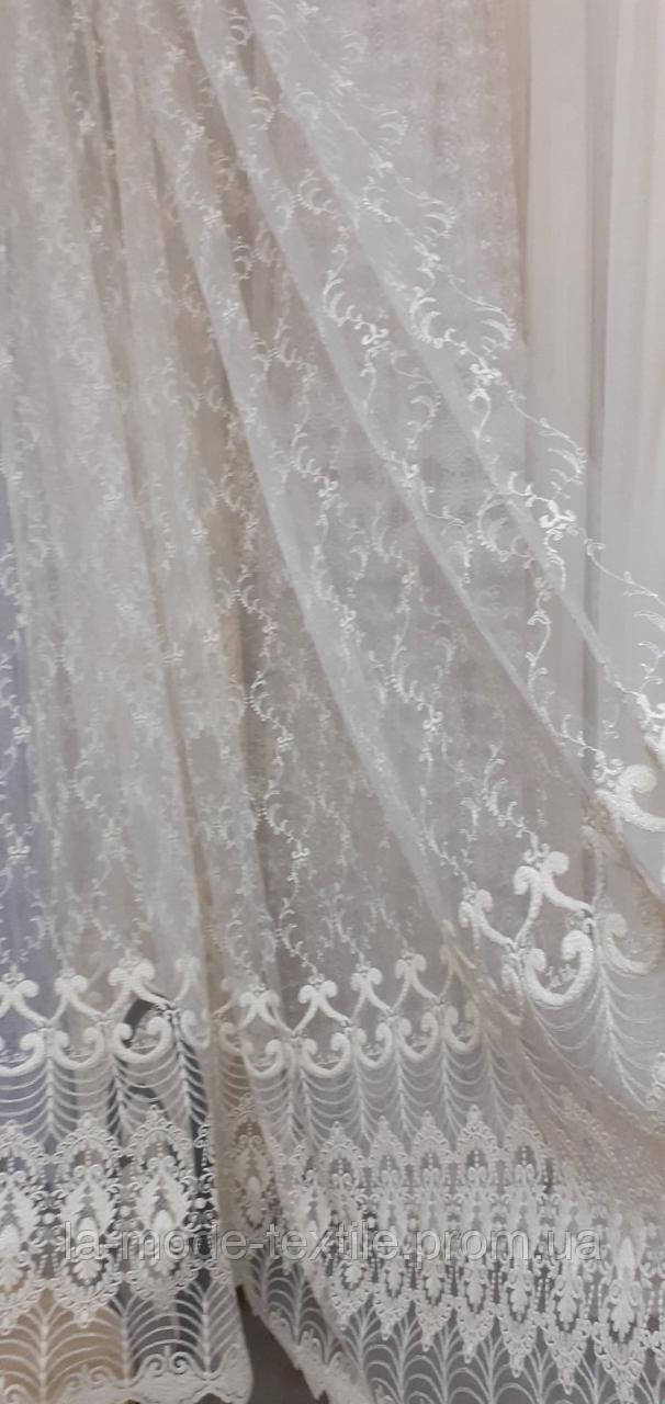 Гардина Classik вышивка  Венеция молочная