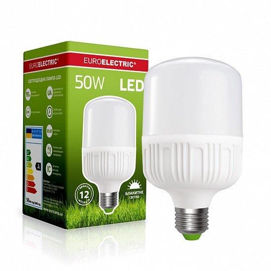 LED Лампа надпотужна Plastic 50W E40 6500K EUROELECTRIC