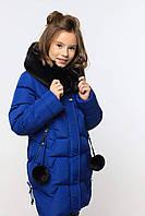 Детское стеганое пальто с помпонами