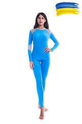 Комплект женского термобелья микрофлис Coral Woman голубой. Термобелье женское комплект.