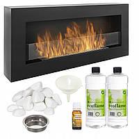 Биокамин Nice-House BOX 900x400x120 мм со стеклом черный матовый (9111)