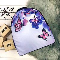 Женский стильный черный рюкзак с принтом Орхидея