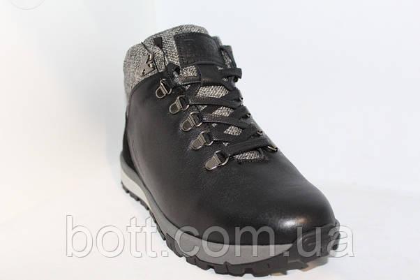 Кожаные черные зимние ботинки, фото 3